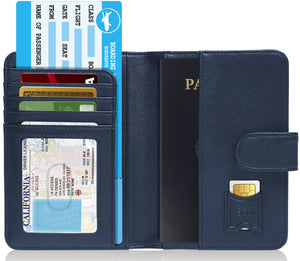 Passport Holder Wallet For Men & Women RFID Blocking Blue | Access Denied
