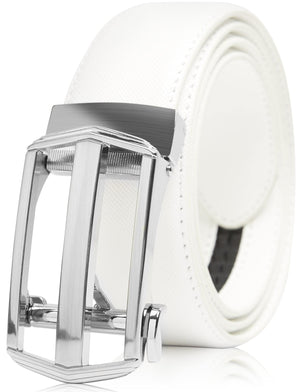 Bonded Leather Ratchet Belts White | Access Denied