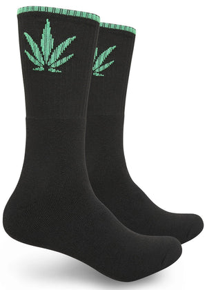 Single Marijuana Leaf Print High-Top Theme Socks Black/Green | Access Accessories