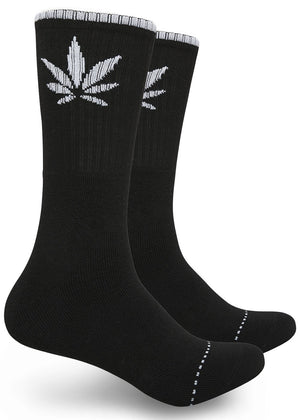 Single Marijuana Leaf Print High-Top Theme Socks Black/White | Access Accessories