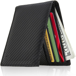 Genuine Leather Slim Bifold Wallet RFID Blocking Black Carbonfiber | Access Denied