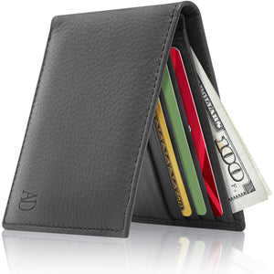 Genuine Leather Slim Bifold Wallet RFID Blocking Black Smooth | Access Denied