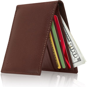 Genuine Leather Slim Bifold Wallet RFID Blocking Cognac Smooth | Access Denied