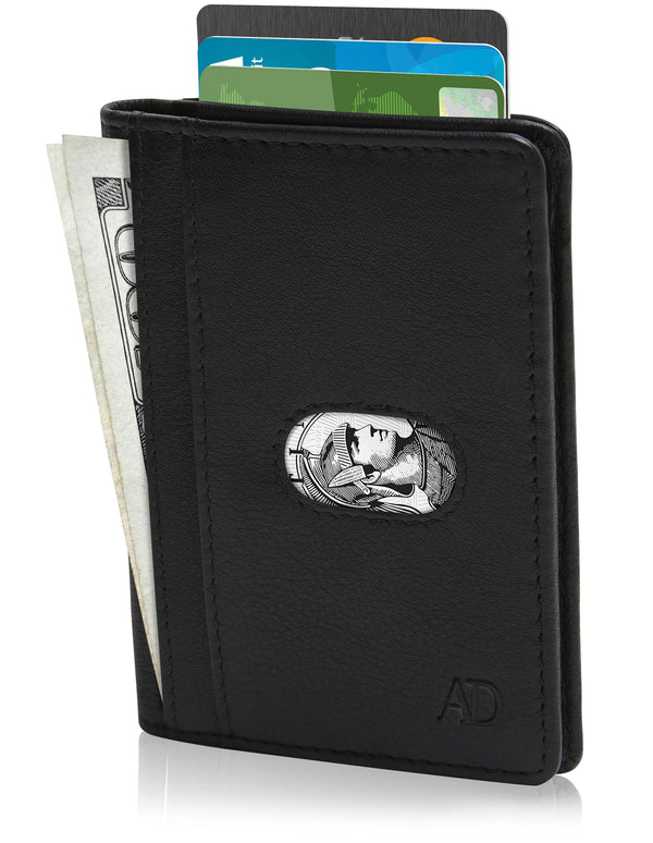 Genuine Leather Slim Bifold Wallet W/ Pull Strap Black | Access Accessories