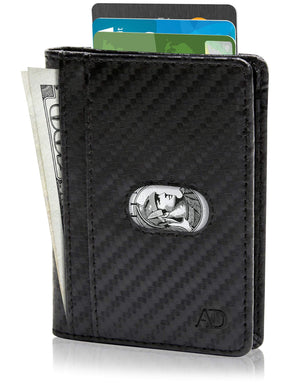 Genuine Leather Slim Bifold Wallet W/ Pull Strap Black Carbonfiber | Access Accessories