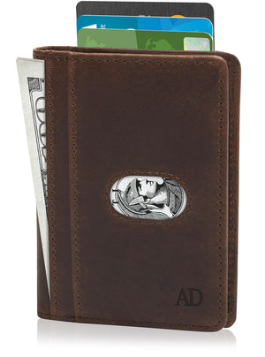 Genuine Leather Slim Bifold Wallet W/ Pull Strap Brown Crazyhorse | Access Accessories