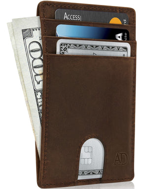Slim Cardholder With Thumbhole Wallets For Men & Women Brown Crazyhorse | Access Denied