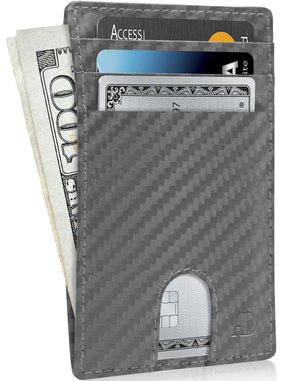 Slim Cardholder With Thumbhole Wallets For Men & Women Gray Carbonfiber | Access Denied