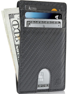 Slim Cardholder With Thumbhole Wallets For Men & Women Black Carbonfiber | Access Denied