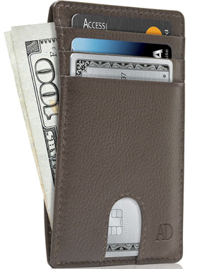 Slim Cardholder With Thumbhole Wallets For Men & Women Brown | Access Denied