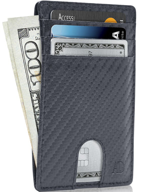 Slim Cardholder With Thumbhole Wallets For Men & Women Blue Carbonfiber | Access Denied