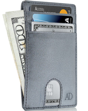 Slim Cardholder With Thumbhole Wallets For Men & Women Pearlized Charcoal | Access Denied