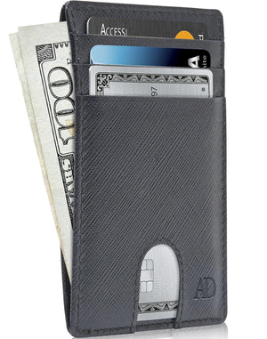 Slim Cardholder With Thumbhole Wallets For Men & Women Black Saffiano | Access Denied