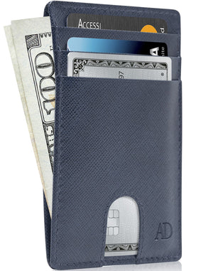 Slim Cardholder With Thumbhole Wallets For Men & Women Blue Saffiano | Access Denied