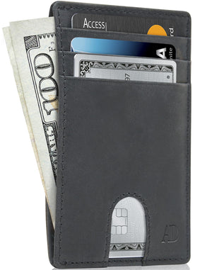 Slim Cardholder With Thumbhole Wallets For Men & Women Black Crazyhorse | Access Denied