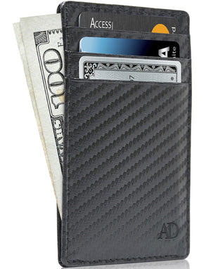 Genuine Leather Slim Card Holder RFID Blocking Black Carbon Fiber | Access Denied