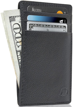 Genuine Leather Slim Card Holder RFID Blocking Black | Access Denied