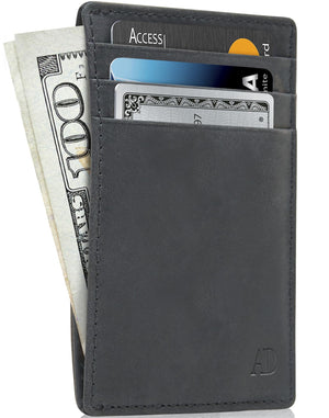 Genuine Leather Slim Card Holder RFID Blocking Black Crazyhorse | Access Denied