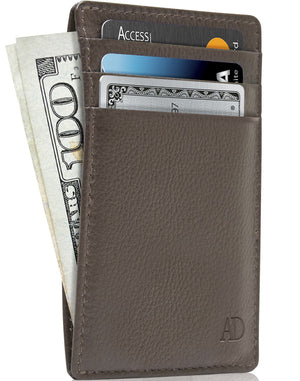 Genuine Leather Slim Card Holder RFID Blocking Brown | Access Denied