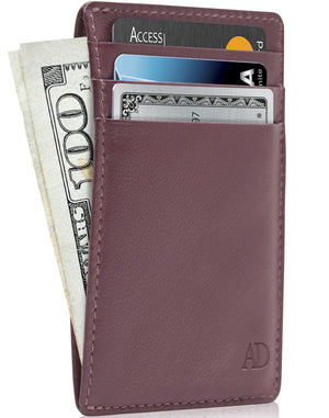 Genuine Leather Slim Card Holder RFID Blocking Mulberry | Access Denied
