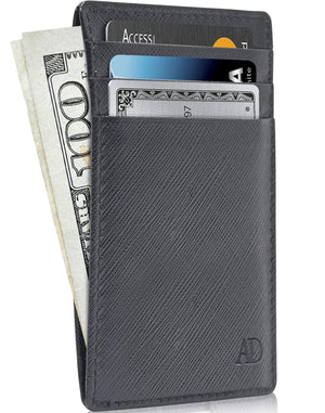 Genuine Leather Slim Card Holder RFID Blocking Black Saffiano | Access Denied