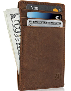 Genuine Leather Slim Card Holder RFID Blocking Brown Crazyhorse | Access Denied