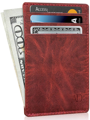 Genuine Leather Slim Card Holder RFID Blocking Red Crazyhorse | Access Denied