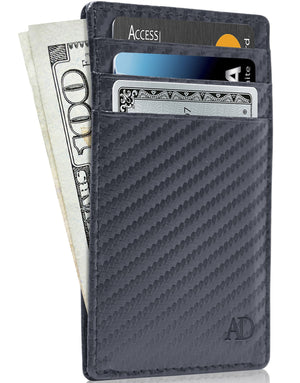 Genuine Leather Slim Card Holder RFID Blocking Blue Carbon Fiber | Access Denied
