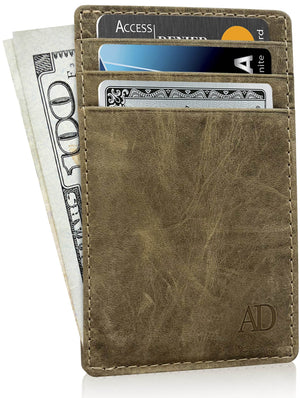 Genuine Leather Slim Card Holder RFID Blocking Olive Crazyhorse | Access Denied