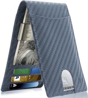 Bifold Wallet With Money Clip For Men RFID Blocking Blue Carbonfiber | Access Denied