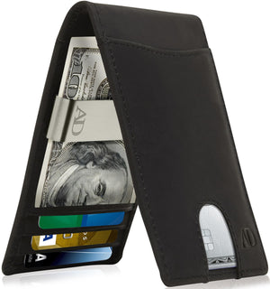 Bifold Wallet With Money Clip For Men RFID Blocking Black Crazyhorse | Access Denied