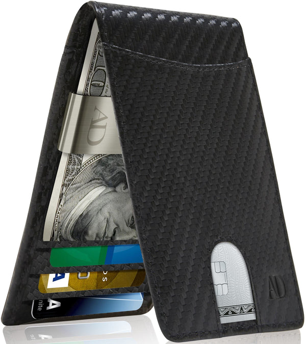 Bifold Wallet With Money Clip For Men RFID Blocking Black Carbonfiber | Access Denied