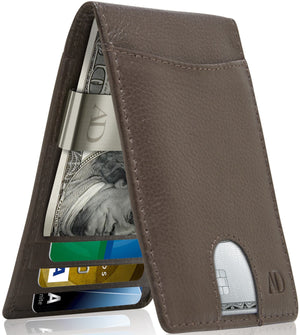 Bifold Wallet With Money Clip For Men RFID Blocking Brown | Access Denied