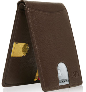 Slim Pull Strap Bifold Wallets For Men RFID Blocking Brown | Access Denied