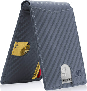 Slim Pull Strap Bifold Wallets For Men RFID Blocking Blue Carbonfiber | Access Denied