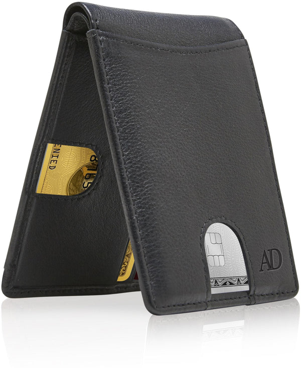 Slim Pull Strap Bifold Wallets For Men RFID Blocking Black | Access Denied