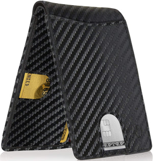 Slim Pull Strap Bifold Wallets For Men RFID Blocking Black Carbonfiber | Access Denied