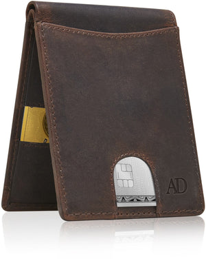 Slim Pull Strap Bifold Wallets For Men RFID Blocking Brown Crazyhorse | Access Denied