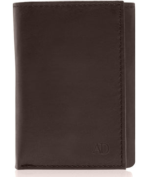 Genuine Leather Slim Trifold Wallet With ID Window RFID Blocking Brown | Access Denied