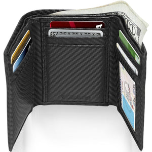 Genuine Leather Slim Trifold Wallet With ID Window RFID Blocking Black Carbonfiber | Access Denied