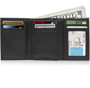 Genuine Leather Slim Trifold Wallet With ID Window RFID Blocking Black | Access Denied