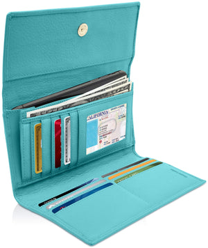 Leather Womens Trifold Wallet With Removable Checkbook Teal | Access Denied