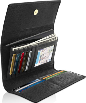 Leather Womens Trifold Wallet With Removable Checkbook Black | Access Denied