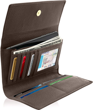 Leather Womens Trifold Wallet With Removable Checkbook Dark Chocolate Brown | Access Denied