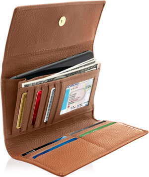 Leather Womens Trifold Wallet With Removable Checkbook Tan | Access Denied