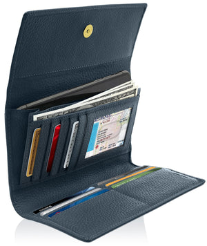 Leather Womens Trifold Wallet With Removable Checkbook Navy Blue | Access Denied