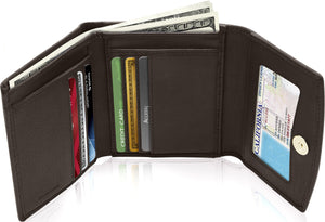 Genuine Leather Women's Trifold Brown Smooth Wallet RFID Blocking | Access Denied