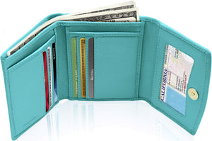 Genuine Leather Women's Trifold Teal Smooth Wallet RFID Blocking | Access Denied