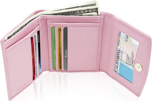 Genuine Leather Women's Trifold Pink Wallet RFID Blocking | Access Denied