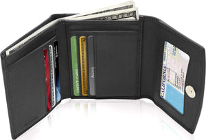 Genuine Leather Women's Trifold Black Smooth Wallet RFID Blocking | Access Denied